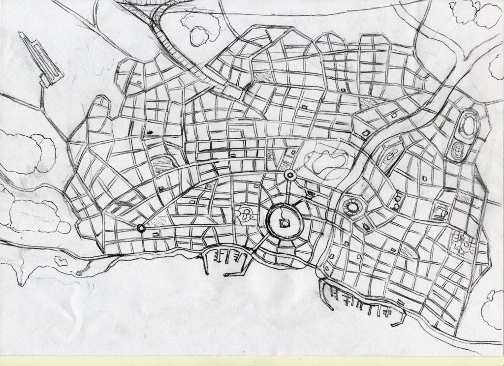 Bozza Mappa di Paperopoli di Jacopo Mistura
